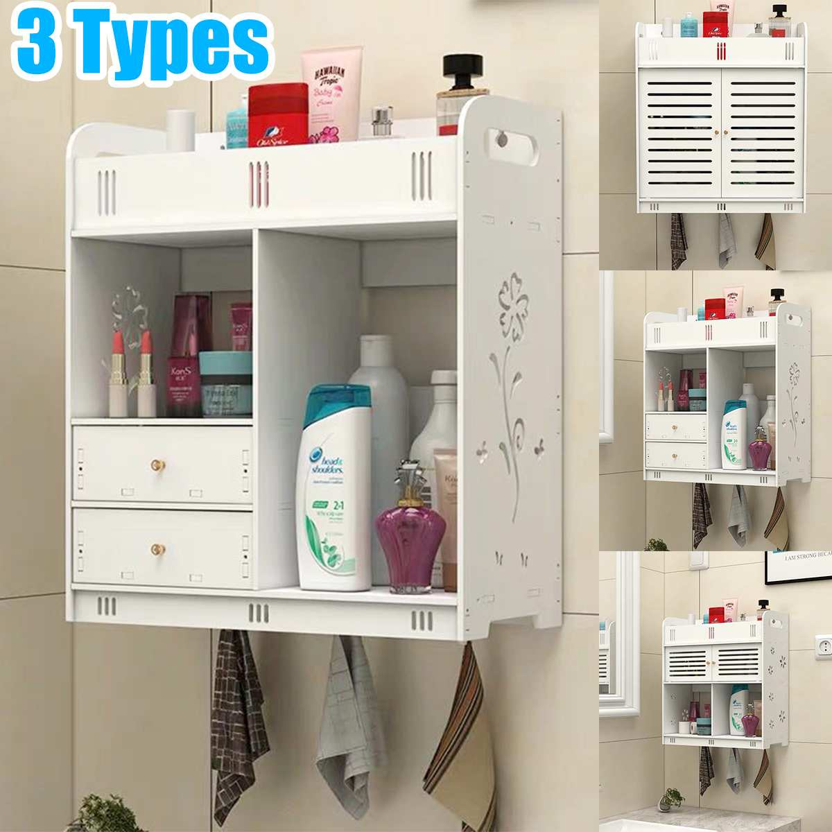 Bathroom Cabinet 38x18x43cm Wall Mounted Bathroom Toilet Furniture Cabinet Wood-Plastic Cupboard Shelf Cosmetic Storage Rack
