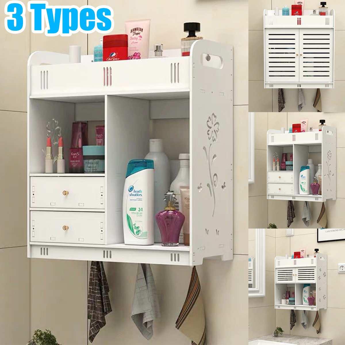 Bathroom Cabinet 38x18x43cm Wall Mounted Bathroom Toilet Furniture Cabinet Wood-Plastic Cupboard Shelf Cosmetic Storage Rack
