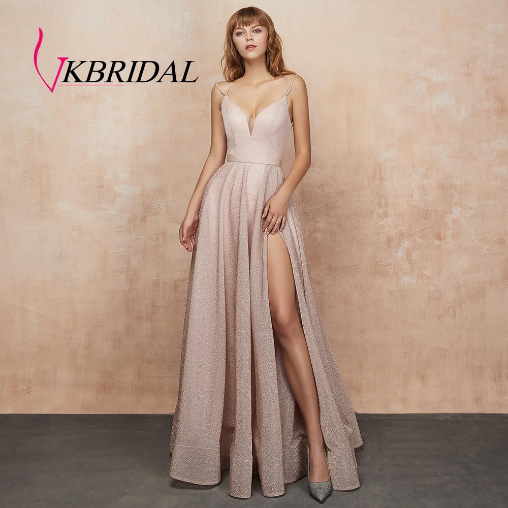Robes de bal vkmariée avec poche col en V scintillant a-ligne robes de bal de promo longues pour les filles Plus robe de soirée haute fente 2019