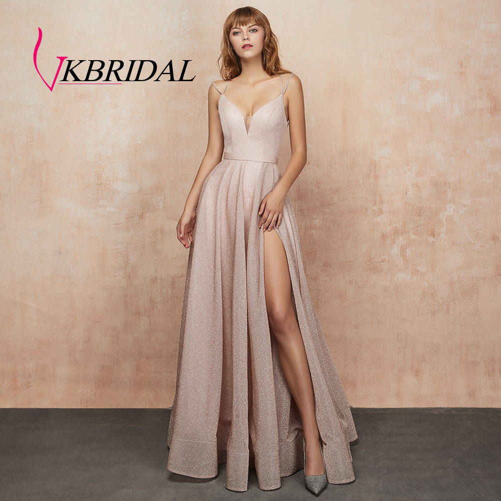 VKbridal Homecoming   Dresses   with Pocket V neck Sparkle A-Line Prom Party Gowns Long for Girls Plus High Slit   Evening     Dress   2019