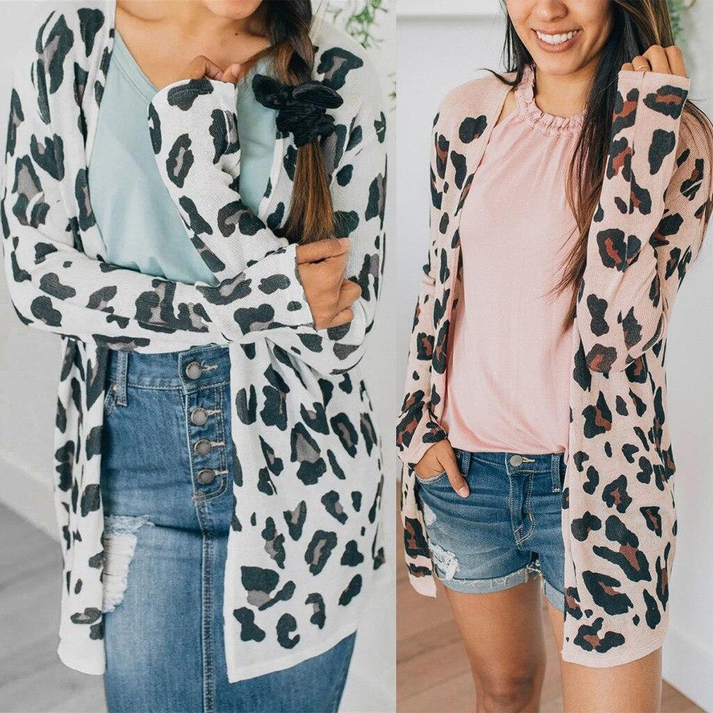 Fashion Women Long Sleeve Cardigan Casual Leopard Print Loose Outwear Tops Coat jacket women chaqueta mujer coat women пальто