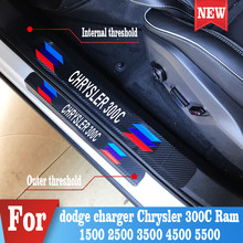 4PCS Car Protector Door Sill Stickers For dodge charger Chrysler 300C journey jersey ram 1500 2500 3500 4500 5500 Accessories