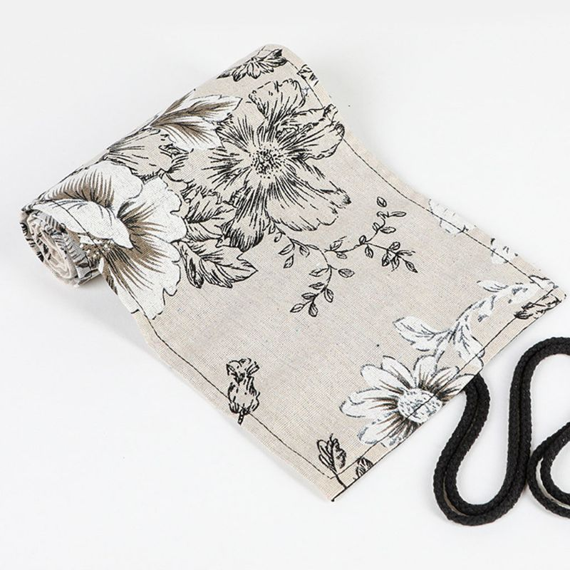 Peony 12/24/36/48/72 Holes Canvas Roll Pen Curtain Pencil Bag Case Makeup Wrap J6PA