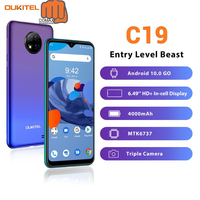 OUKITEL C19 6.49'' HD +2GB 16GB Quad Cameras Smartphone MTK6737 Octa Core Android 10.0 Mobile Phone 4000mAh 256GB