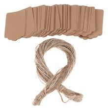 100 pçs/lote em branco kraft jóias preço etiqueta kraft papel string preço tags cartões de presente com corda 20m