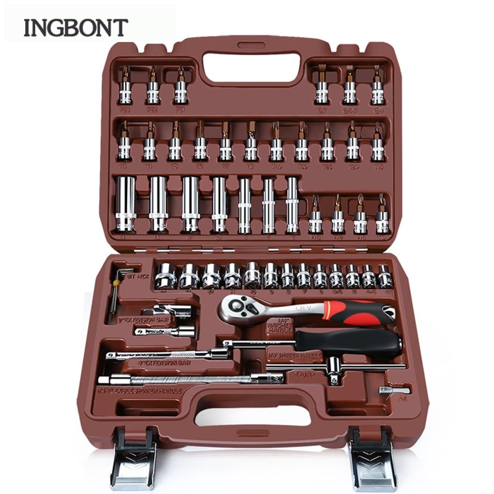 INBONT Wrench Batch Head Hand Tool Set Ratchet Carbon Steel Pawl Socket Spanner Screwdriver Motorcycle Car Repair Tool Set