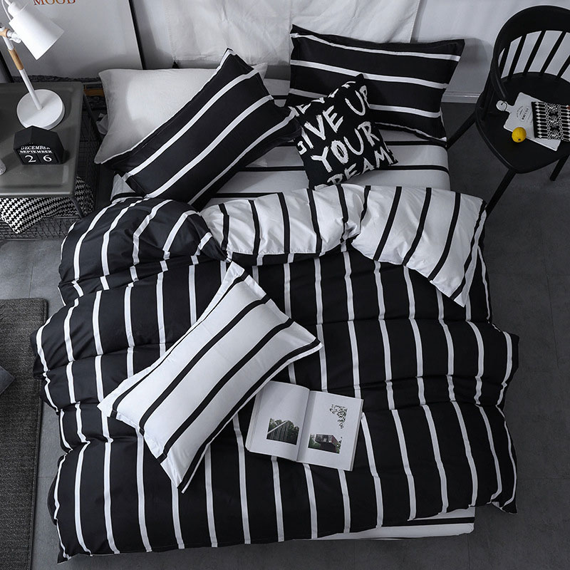 Black White Stripe 4pcs Kid Bed Cover Set Cartoon Duvet Cover Adult Child Bed Sheets And Pillowcases Comforter Bedding Set 61018