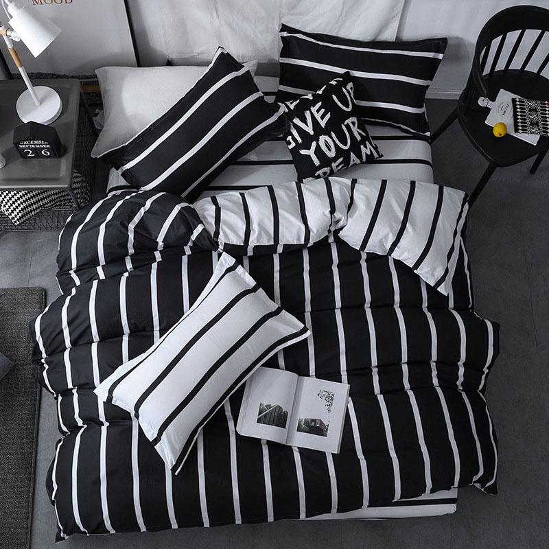 Mega Deal Ba93c Black White Stripe 4pcs Kid Bed Cover Set