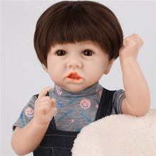 Reborn Baby Doll Toy High Quality Reborn Toddler Lifelike Baby Doll Realistic Short Hair Pouting Baby Doll Birthday Gift 17 inch lifelike reborn lovely baby doll laugh soft realistic reborn baby playing toys for kids christmas gifts bonecas