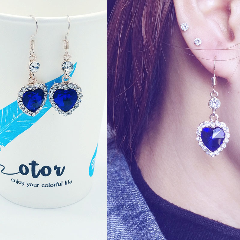 Drop-Earrings Pary-Accessories Crystal Royal-Blue Heart Jewelry Women Love Of For Classic