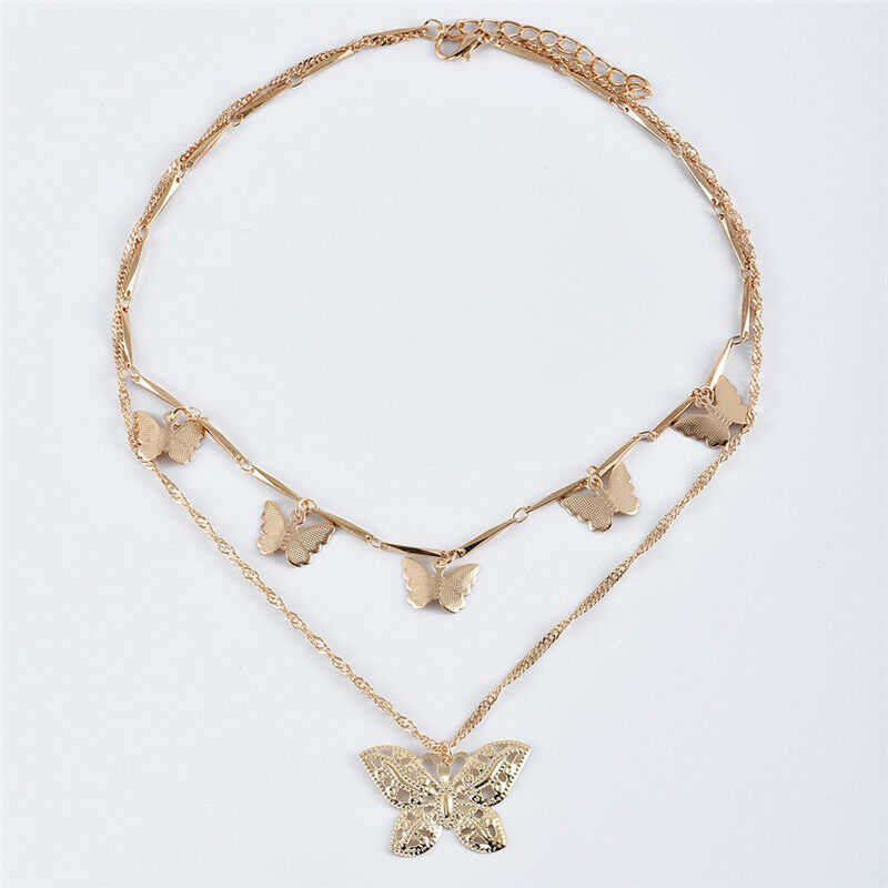 Bohemia Multi Layer Gold Color Beautiful Butterfly Pendant Necklace For Women Pendant Choker Chain Necklace