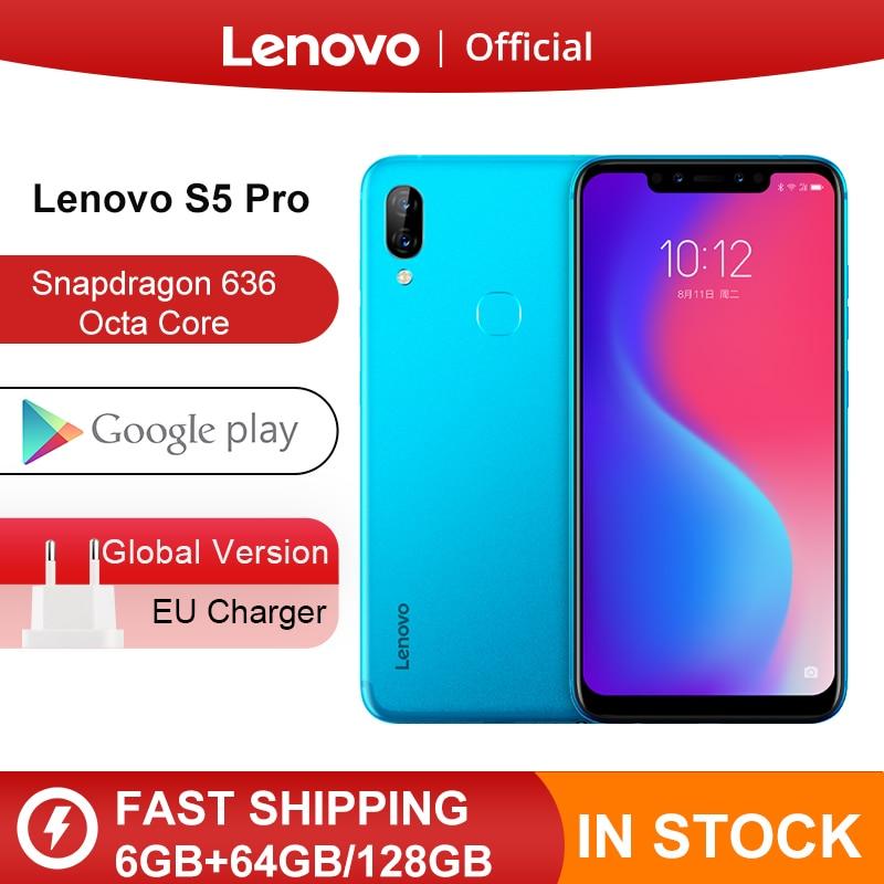 Global Version Lenovo S5 Pro 6GB 128GB Snapdragon 636 Octa Core Smartphone 20MP Quad Cameras 6.2inch Octa Core 4G LTE Phones