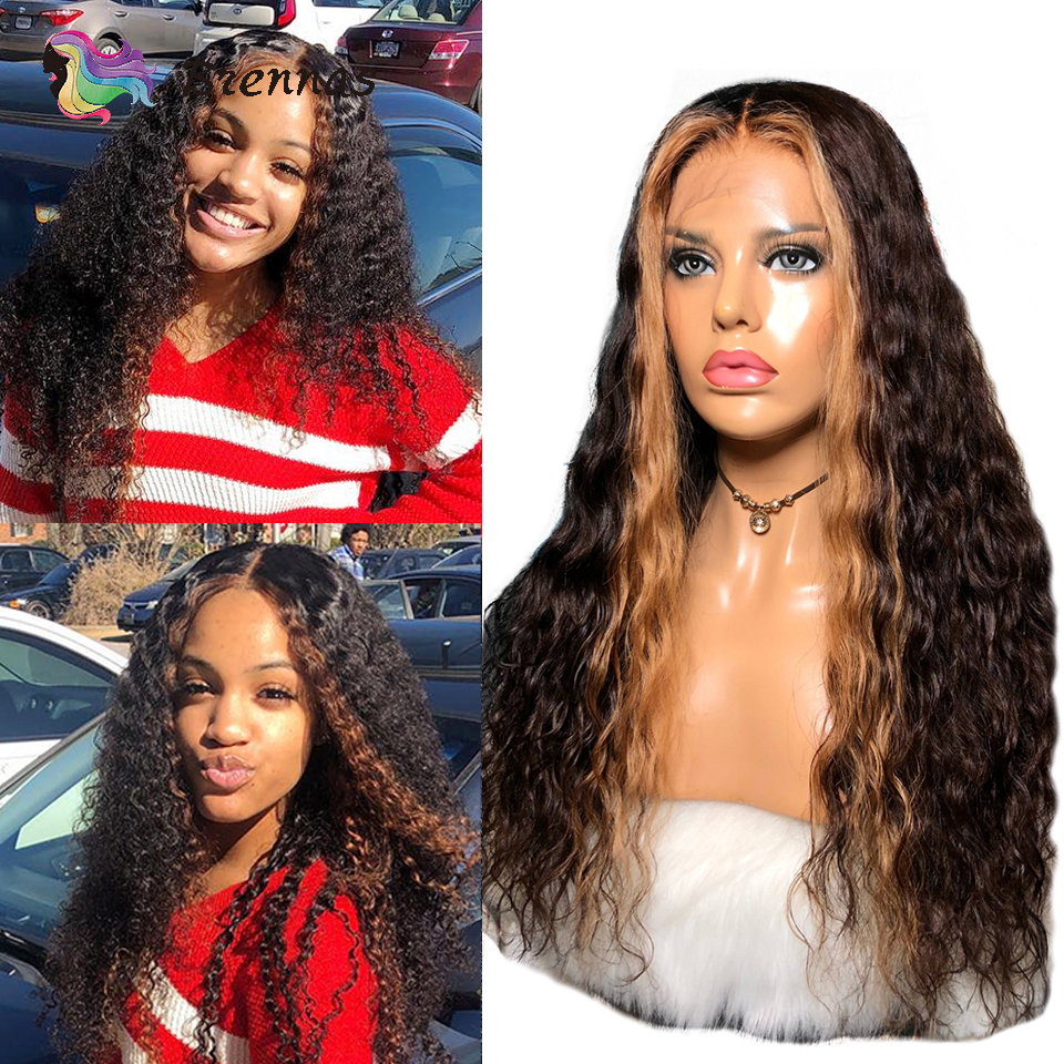 Brazilian Hair Lace Wig Ombre Highlight Curly Human Hair Lace Wig Remy Hair 13x6 Lace Front Wig With Highlight For Black Women