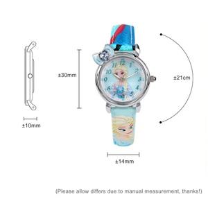 Image 5 - Dondurulmuş Elsa prenses kız Cuties kelebek ilmek izle öğrenci deri kuvars güzel kol saati Disney çocuk saati hediye kutusu