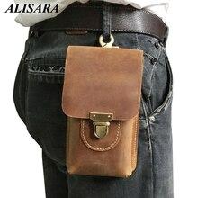 Waist bag leather Large Capacity  Double Zipper Interior Slot Pocket Cell Phone Pocket vintage Waist bags
