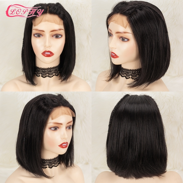 4x4 Lace Closure Short Bob Wig Human Hair Wigs Blunt Cut Bob Human Hair Wig Pre-Plucke Brazilian Straight Wig For Black Women 2