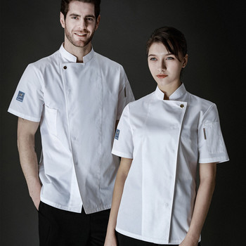 Chef Uniform Service Jacket Hotel Working Wear Restaurant Work Clothes Summer Short-sleeved Tooling Uniform Cook Tops free shipping work wear set male tooling uniform customize lf 102 long sleeve mechanic jacket and engineer jacket page 2