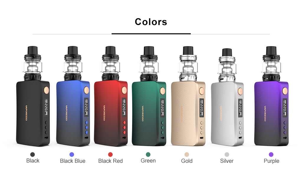 Original Vaporesso 220W GEN Vape Kit Box Mod with 8ml Capacity SKRR S Tank dual 18650 battery electronic cigarettes