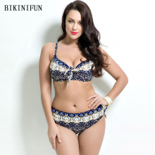 New Plus Size Floral Bikini Women Swimsuit Vintage Print Bathing Suit 48-56 Bow Knot Swimwear High Waist Beachwear Bikini Set plus floral print bikini set