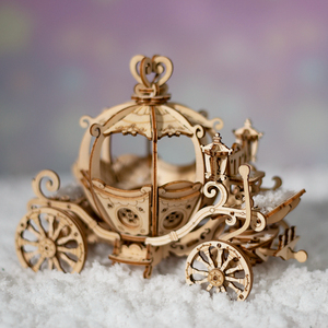 Image 2 - Robotime جديد وصول 182 قطعة DIY المنقولة 3D خشبية اليقطين عربة بناء نموذج كيت لعبة هدية للأطفال صديق TG302