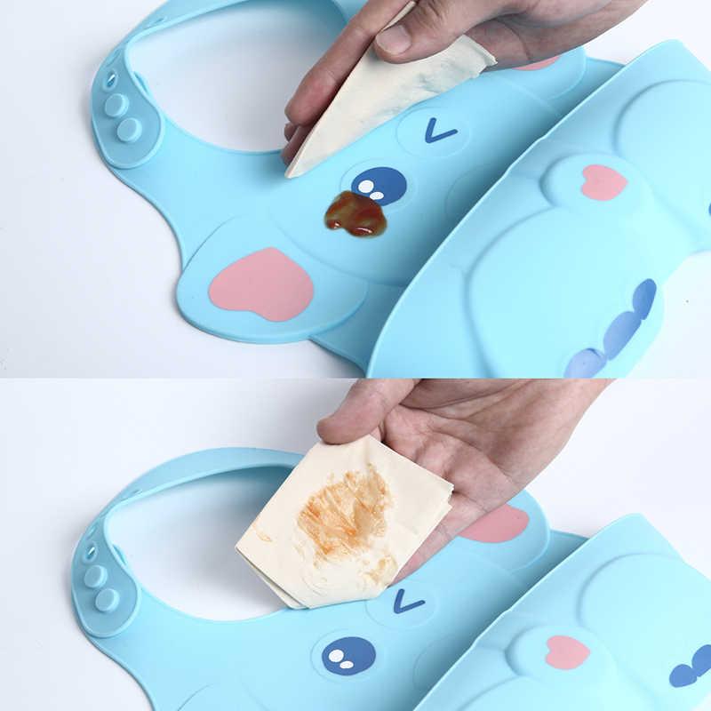 Baby Stuff Waterproof Food grade Silicone Bib Baby Cute Cartoon Adjustable Bib