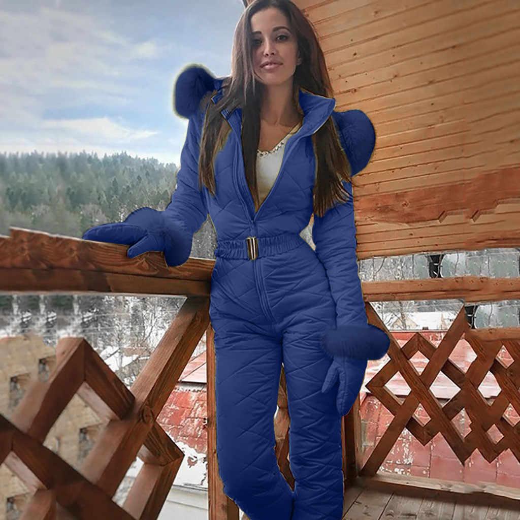 Di Modo delle donne di Un Pezzo Da Sci Tuta casual di Spessore Inverno Caldo Snowboard Skisuit Sport All'aria Aperta Sci Pant Set Cerniera Tuta Da Sci