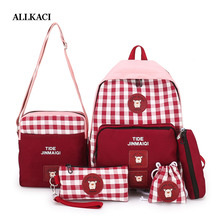 купить New Canvas Backpack 5 Pcs/set Women School Backpacks Schoolbag for Teenagers Girls Student Book Bag Boys Laptop Satchel 5051 по цене 1486.95 рублей
