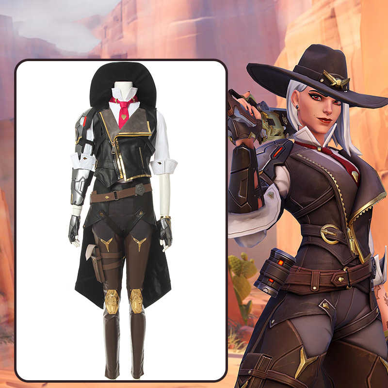Game Overwatch Ashe Elizabeth Caledonia Costume Cosplay Halloween Adult Women Vest Armor Gloves Belt Boots Carnival Suit