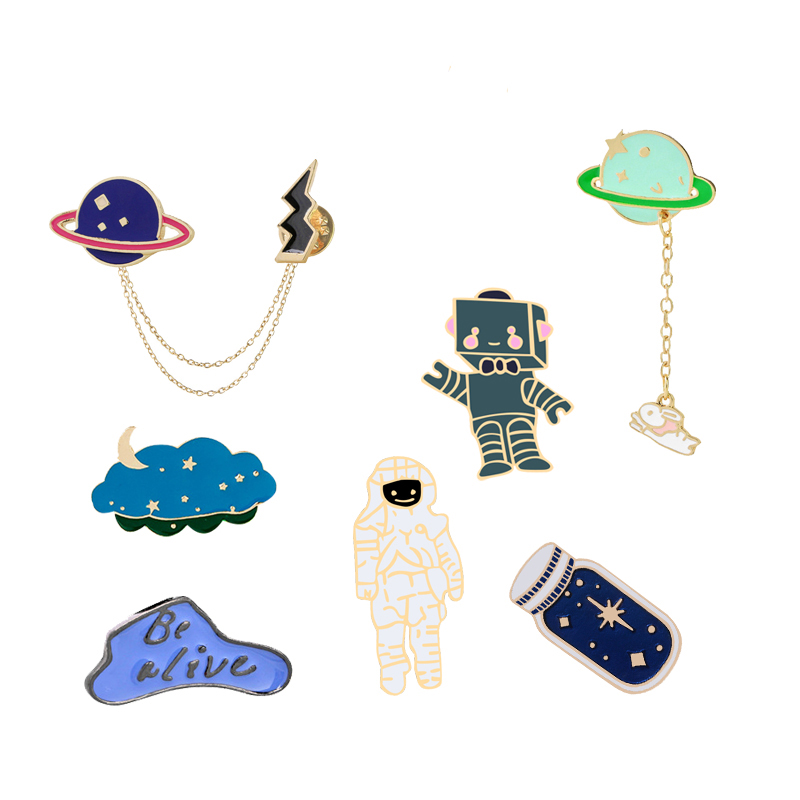 Universe-Space-Planet-Astronaut-Robot-Collection-Brooch-Star-Bottle-Lapel-Pin-Custom-Badge-Cartoon-Enamel-Pin