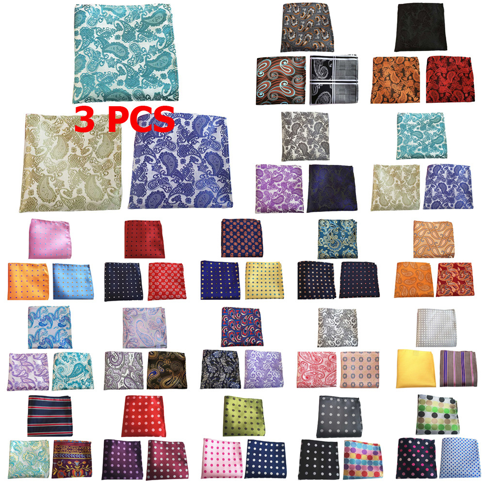 3 PCS Men Stripe Flower Paisley Pocket Square Handkerchief Wedding Hanky