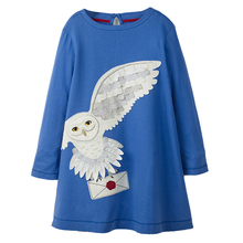 Autumn Girl dresses with animal embriodery design cotton long sleeve kids dresses for girls kids party princess dress clothes цена