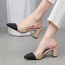 Meotina kadın arkası açık iskarpin yüksek topuklu ayakkabı doğal hakiki deri kalın yüksek topuk ayakkabı inek deri karışık renkler pompaları bayanlar 43