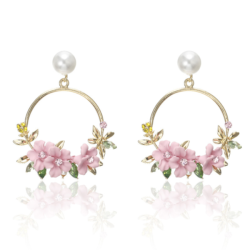 Korean <font><b>Trendy</b></font> <font><b>Cute</b></font> <font><b>Pink</b></font> <font><b>Flower</b></font> Dangle <font><b>Earrings</b></font> <font><b>For</b></font> <font><b>Women</b></font> Girls Jewelry Female Rhinestone Gold Metal Round Circle <font><b>Earring</b></font> Brincos image