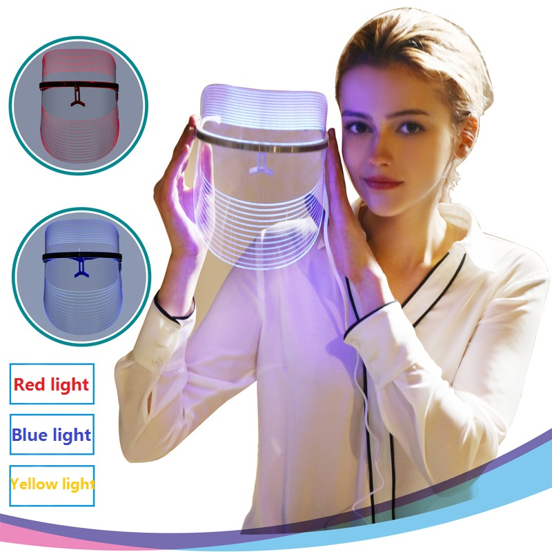3 Colors LED Light Therapy Face Mask Anti Acne Anti Wrinkle Facial SPA Instrument Treatment Beauty Device Face Skin Care Tools