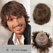 Perruque toupet Remy avec système de postiche de couleur brune #7 pour Homme, postiche de remplacement Poly + Mono densité 120%