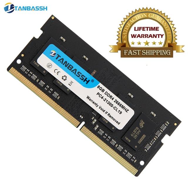 Tanbassh מחשב נייד זיכרון ddr4 4GB 8GB 16GB 2133MHZ 2400MHz 2666MHZ sodimm תמיכה memoria ddr4 מחברת אחריות לכל החיים