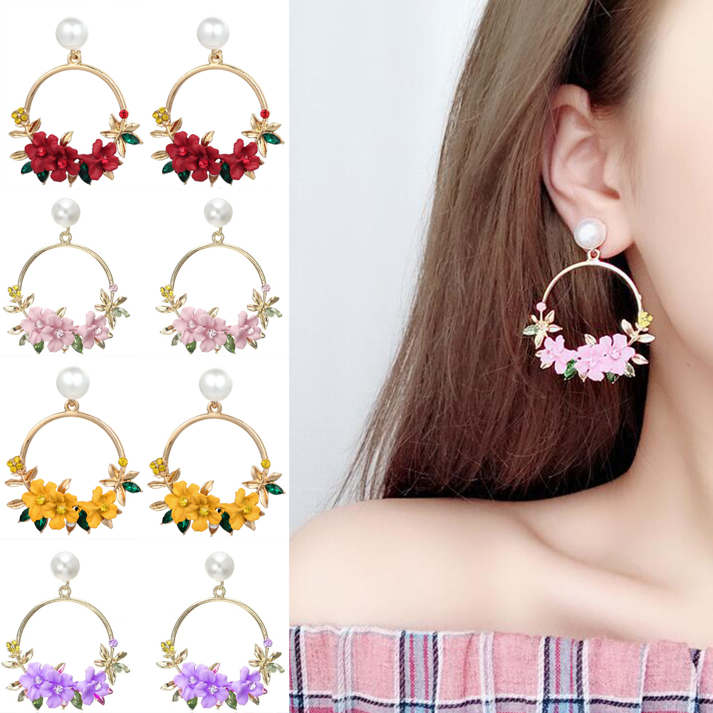 <font><b>Trendy</b></font> <font><b>Cute</b></font> <font><b>Pink</b></font> <font><b>Flower</b></font> <font><b>Earrings</b></font> <font><b>For</b></font> <font><b>Women</b></font> Girls Jewelry Female Bohemian Gold Metal Round Circle Drop <font><b>Earrings</b></font> Gifts Brincos image