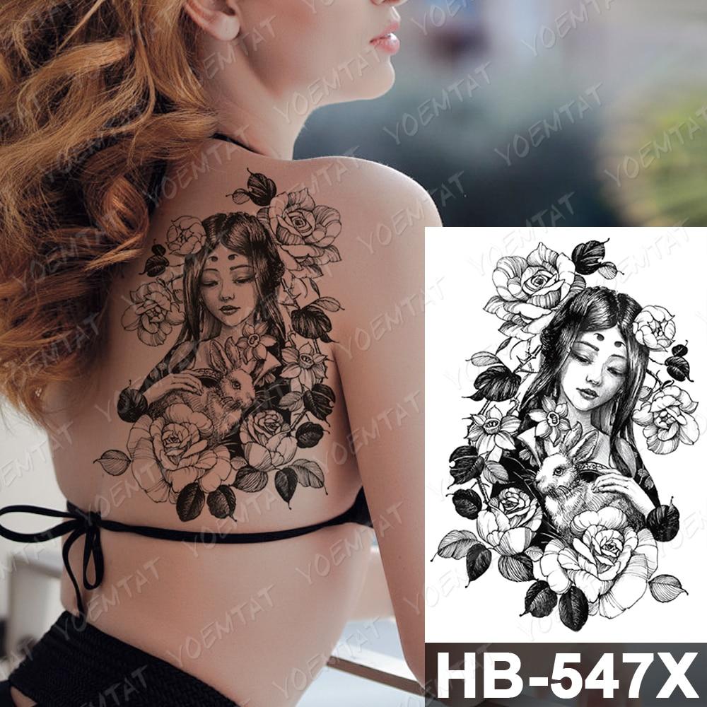 Us 1 02 21 Off Waterproof Temporary Tattoo Sticker Kimono Beauty Warrior Bird Flash Tattoos Japanese Sketch Body Art Arm Fake Tatoo Women
