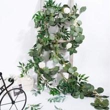 Jeyl 6.5-pé artificial eucalipto guirlanda e 6-pé salgueiro videira ramos folha guirlanda corda porta verde guirlanda interior e ou