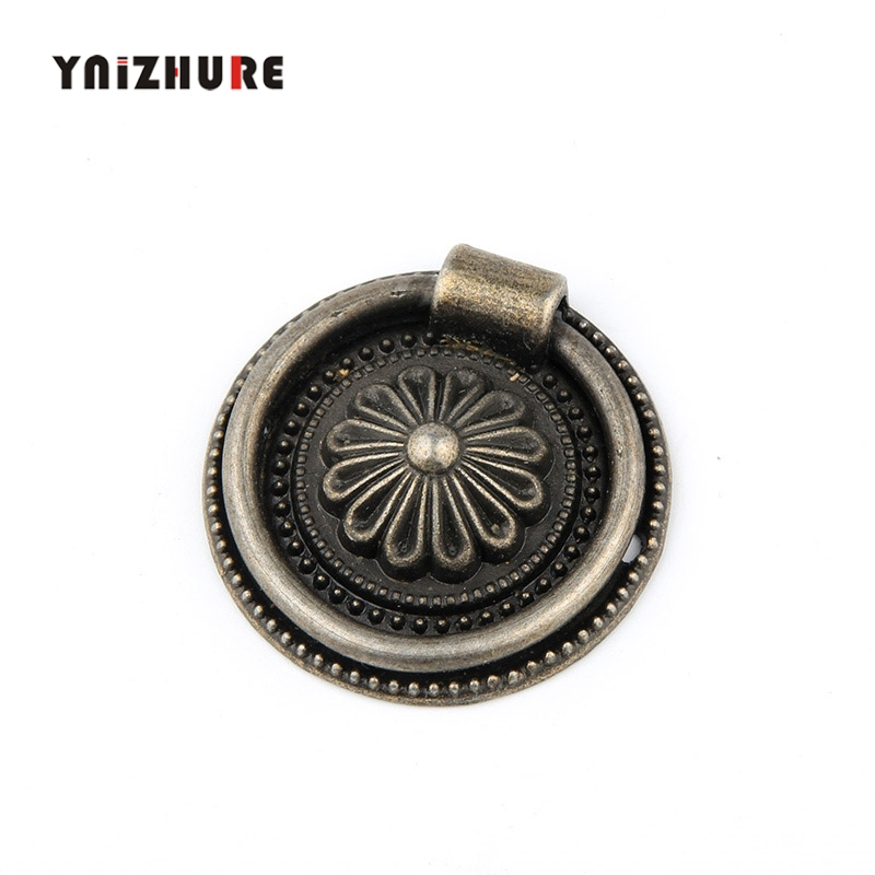 2PCS 37mm Ring Style Single Hole Antique Brass Color Knobs Mini Screw Mounting Handle Antique Jewelry Box Wooden Accessories