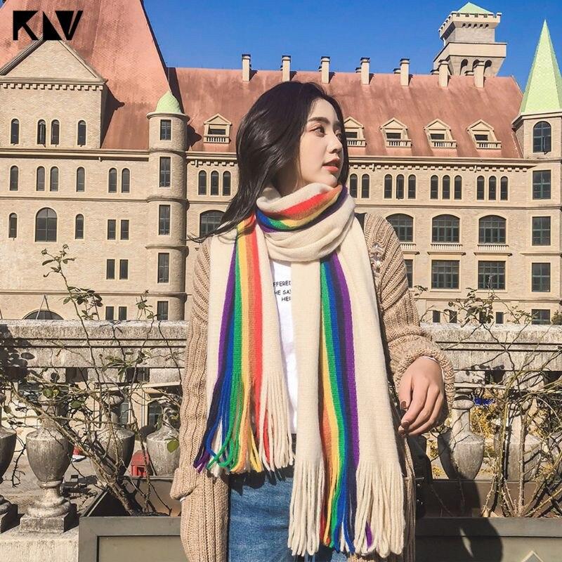 190x40cm Women Girls Pashmina Rainbow Vertical Striped Patchwork Oversized Scarf Shawl With Tassels Winter Warm Blanket Wraps