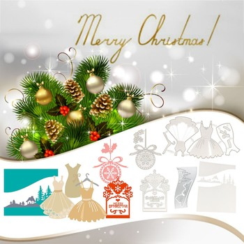 Christmas Cutting Templates With DIY Festoon Frame Fashionable Carbon Steel Scrapbooking Album Paper Card Boze Narodzenie image