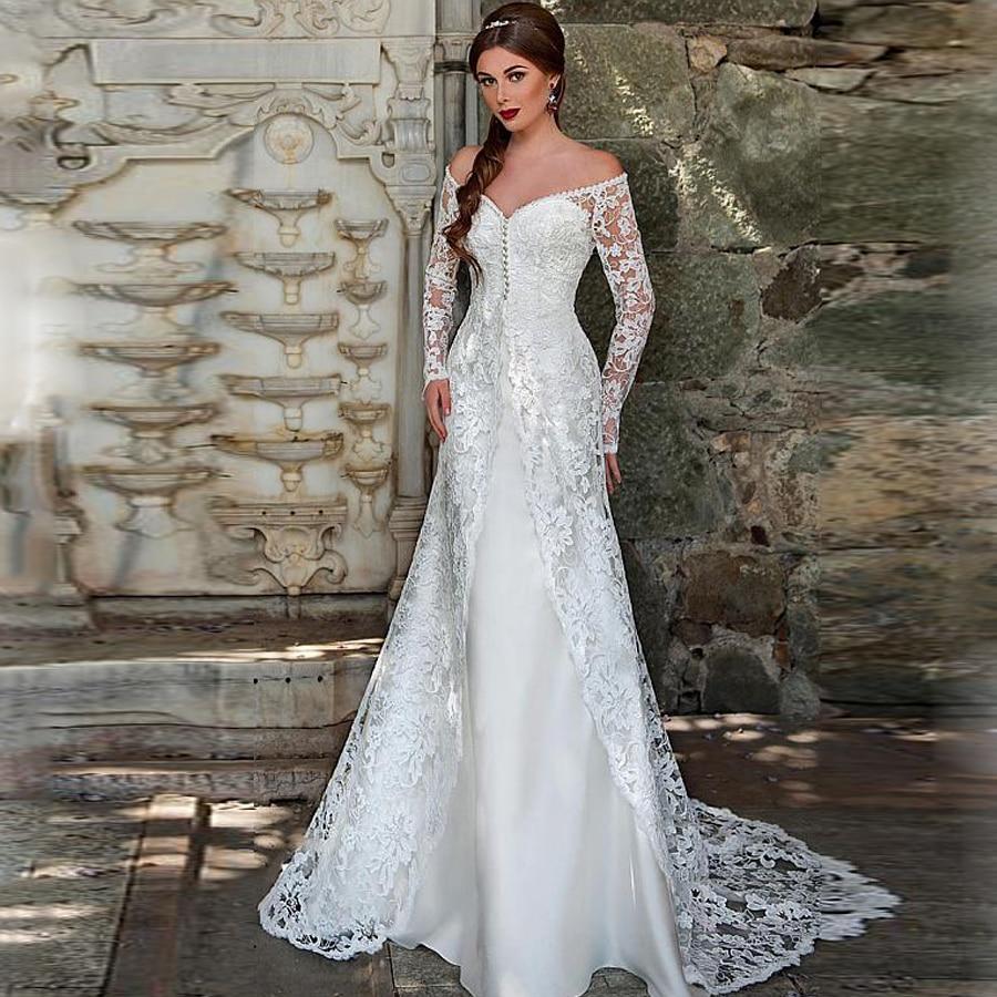 Graceful Lace Long Sleeve Off-the-Shoulder V-neck Neckline Mermaid Wedding Dresses Pearls Sweep Train Zipper Back Bridal Dress
