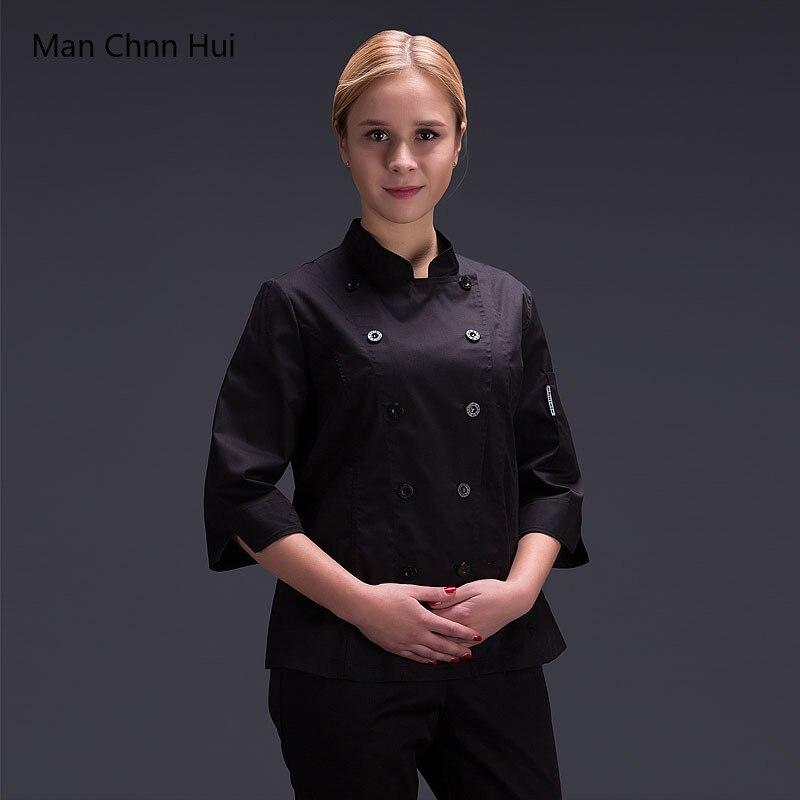 Summer Chef Uniform Women Chef Clothes Bakery Restaurant Kitchen Work Wear Long Sleeve Waitress Catering Chef Jackets Jaleco