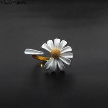 Huanzhi 2020 nova primavera branco esmalte margarida flor do vintage elegante simples abertura anéis para mulheres jóias presentes de festa