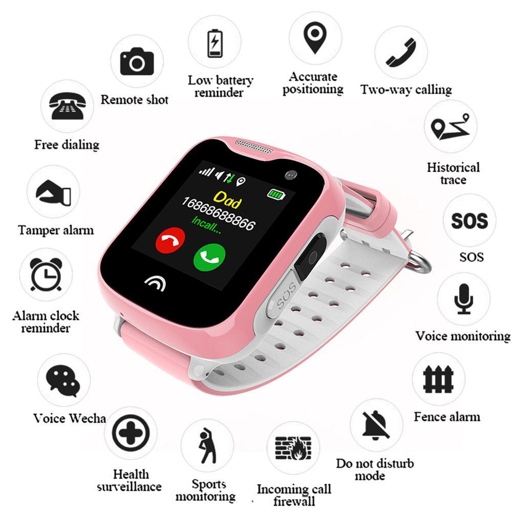 1.33 ''écran tactile enfants montre de téléphone intelligent étanche montre intelligente GPS WIFI Position en temps réel moniteur à distance photographie pour les enfants