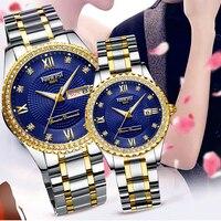 NIBOSI-Reloj de pulsera de acero inoxidable para hombre y mujer, accesorio masculino de marca de lujo, de cuarzo dorado, de regalo, azul