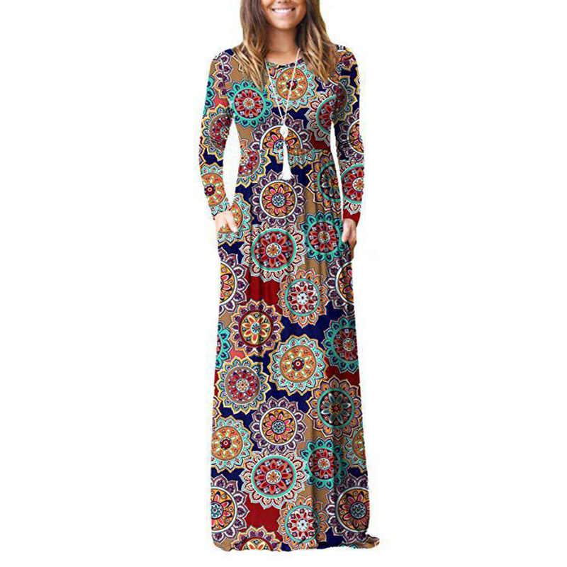 LongWomen's 2020 automne et hiver nouveau européen et américain imprimé à manches longues poche robe col rond taille robe
