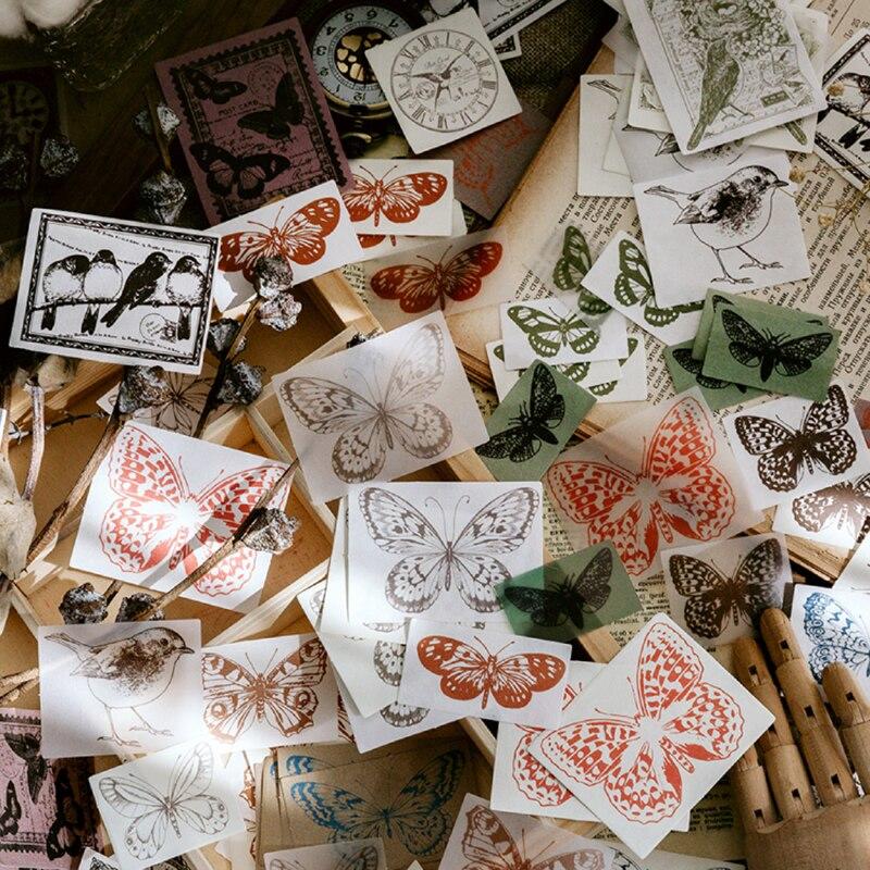 Купить с кэшбэком Journamm 100 pcs Retro Material  Litmus Paper Butterfly Flowers Deco Journaling Project DIY Kraft Retro Writing paper Cards