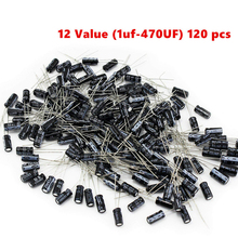 12 значение комплект 1 мкФ-470 мкФ электролитический конденсатор с алюминиевой крышкой, ассортимент набор 1 мкФ 2,2 мкФ 3,3 мкФ 4,7 мкФ 10 мкФ 22 мкФ 33 ...